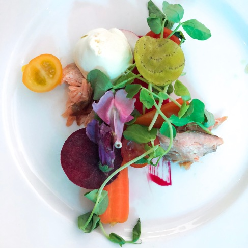 Arbikie AK's gin infused hot smoked salmon, beetroot, avocado and goats cheese salad