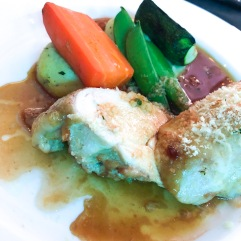 Herb encrusted chicken, basil mash, seasonal veg and verdant gin and thyme jus