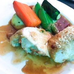 Herb encrusted chicken, basil mash, seasonal veg and verdant gin and thyme jus